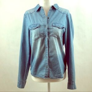 Forever 21 Chambray Denim Shirt Lace Accents Sz S